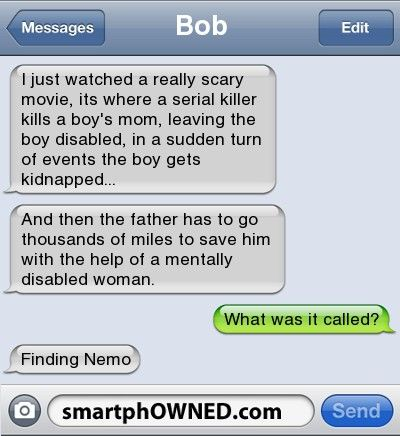 scary text messages bobi just watched a really scary movie its
