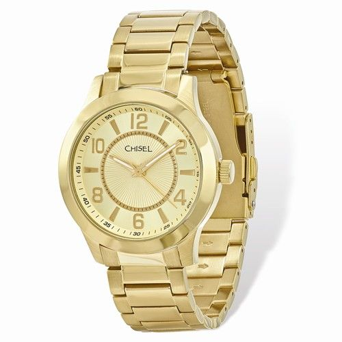 e5ba611914f0ef Chisel Men s IP-Plated Stainless Steel Gold Dial Watch  ChiselJewelry   MensJewelry  MensWatch