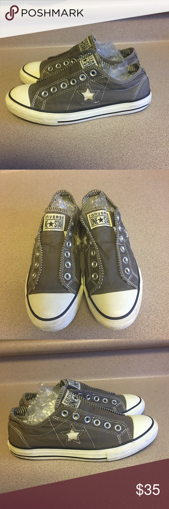 fc8a9ddaa75a99 PreOwned Converse One Star No Lace Women 8.5 Gray PreOwned Converse One  Star No Lace Women s Size 8.5 Gray Converse Shoes Sneakers