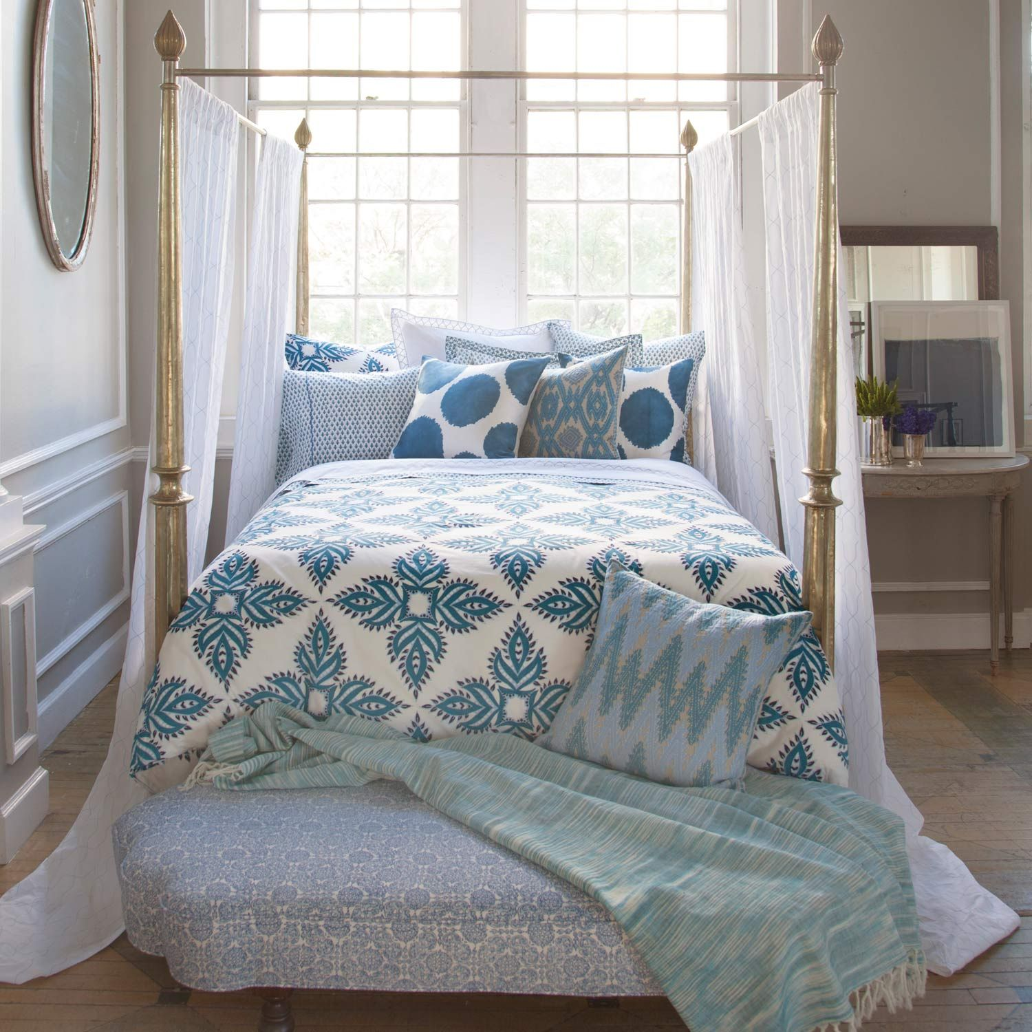 Bedroom Sheer Canopy And Turquoise Bedding By John Robshaw Bed