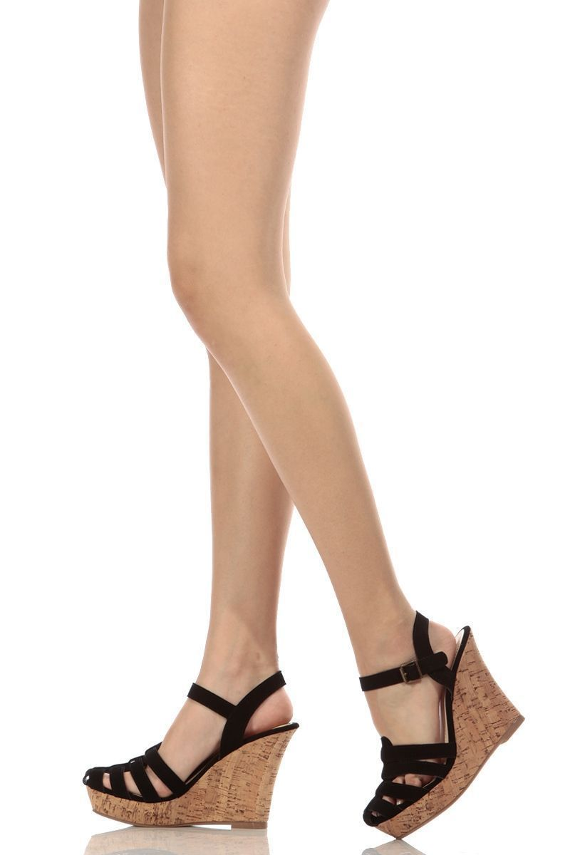 bf5122ea43 Black Faux Nubuck Caged Cork Wedges @ Cicihot Wedges Shoes Store:Wedge Shoes ,Wedge