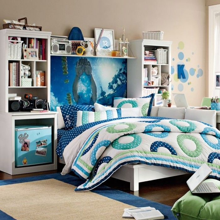 Interior, Colorful Decoration Teenage Girls Room: Blue And Green Quilt  Decoration With Blue Water