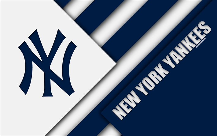 Download Wallpapers New York Yankees Mlb 4k Blue White Abstraction American League East Division Logo Material Design Baseball New York Usa Major Lea New York Yankees New York Yankees Logo Yankees