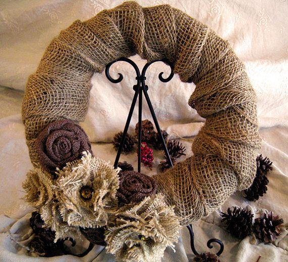 Burlap Wreath w/ burlap flowers