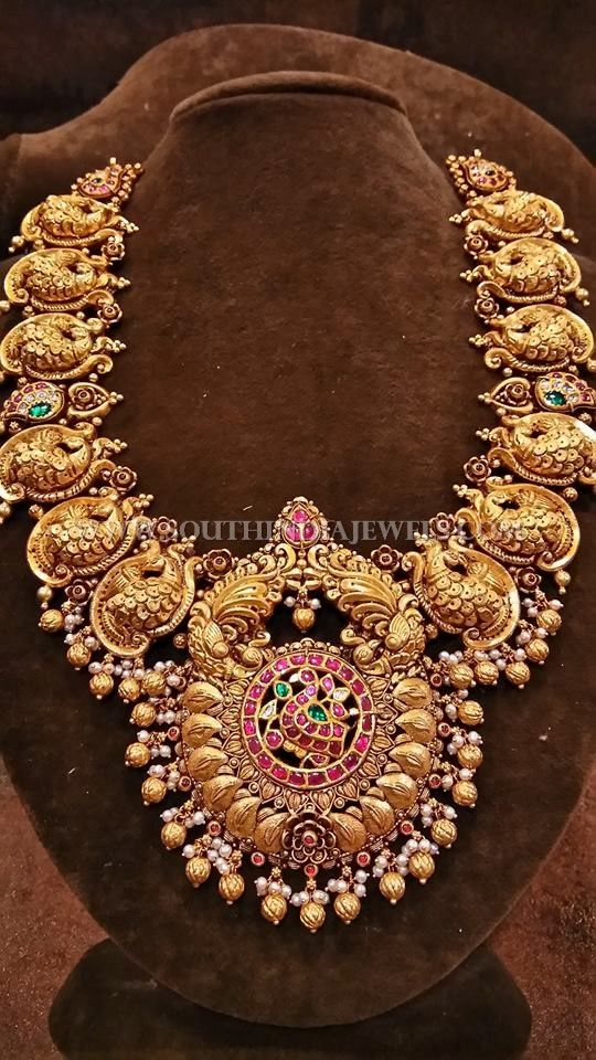 South Indian Style Gold Temple Necklace Indian style Temple and Gold
