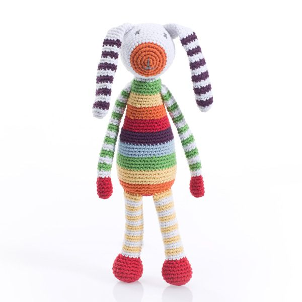 Beautiful bright rainbow colours in a bunny rattle. He has lovely long arms and legs which are perfect for little hands to grab and hold on to. It also complements the rainbow blanket perfectly if you're looking for a nice gift set or matching items. At Pebble we like to think that our toys spread …