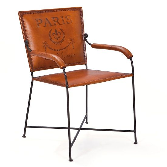 Tan Leather Dining Chair With Arms Made From Strong, Sturdy Material. Black  Metal Frame
