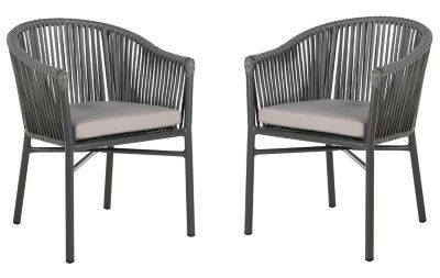Safavieh Kofi Stackable Rope Patio Chair In Grey Set Of 2