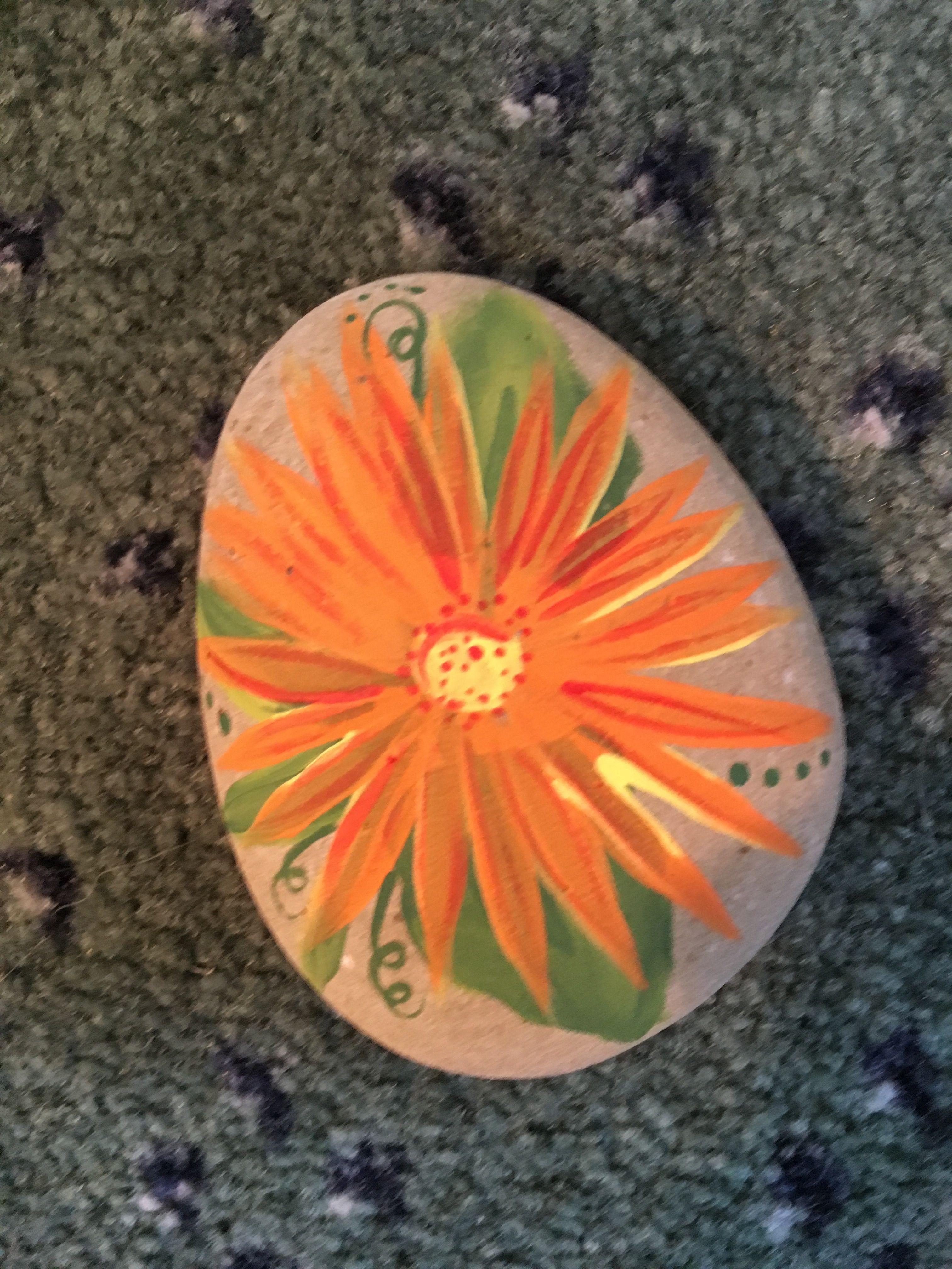 Painted Rock Pretty Orange Flower Arts Crafts Painted Rocks
