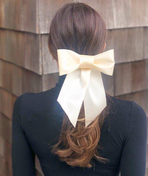 Large Brigitte Bardot Ivory Satin Hair Bow Barrette Large   Etsy