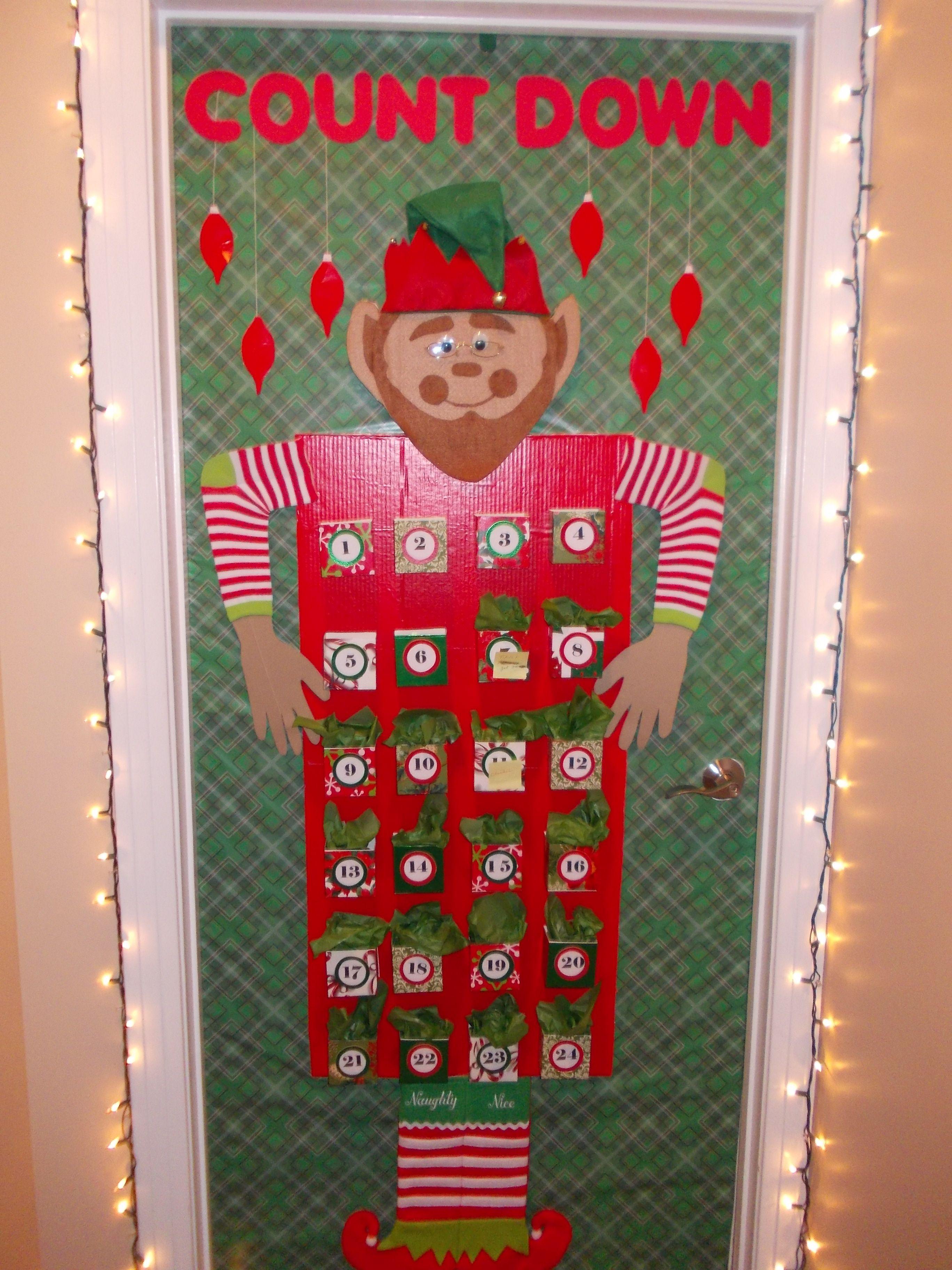 Calendar Decoration Ideas : Christmas office door decoration advent calendar