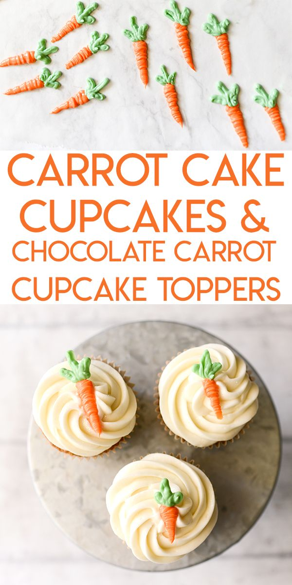 Learn how to make these carrot shaped, edible cupcake toppers out of white chocolate candy melts.  It's easy, and it's the perfect topping for these amazingly delicious carrot cake cupcakes.