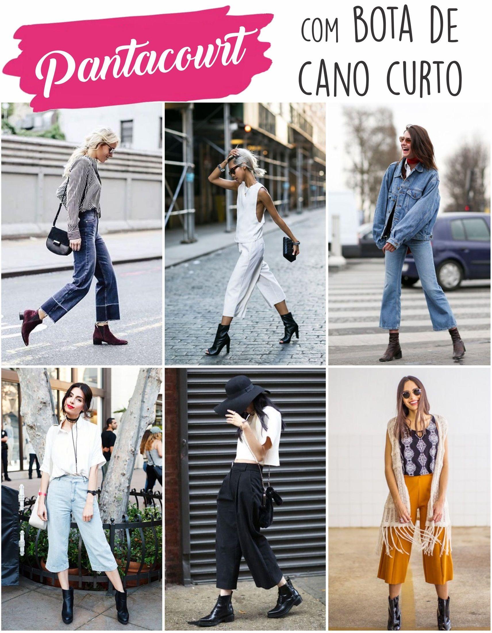 e23454e8143b1 Pantacourt com bota de cano curto | Fashion tips | Looks com botas ...