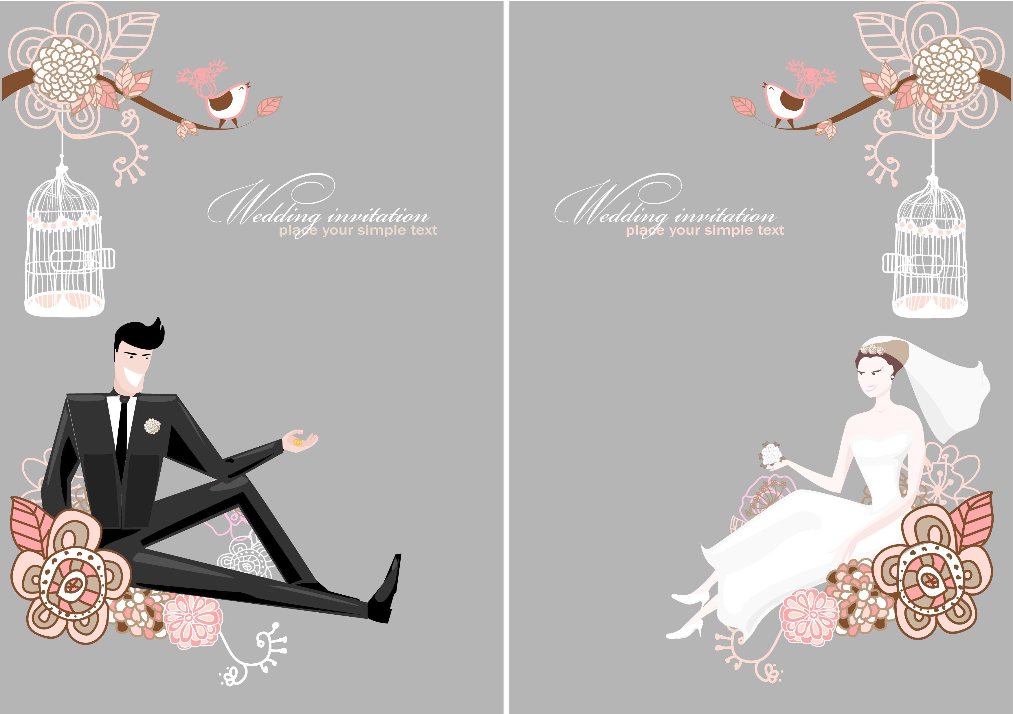free vector Fine line of wedding background draft 01