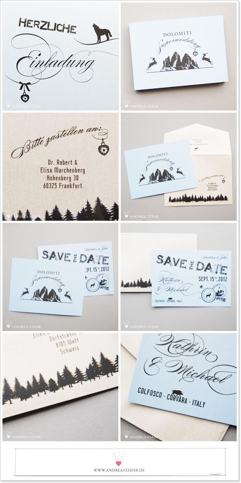 Hochzeitspapeterie Andrea Stahr Berghochzeit Dolomiten Italien Wald Steinbock Berge Selbstgemachte Hochzeitseinladungen Einladungskarten Hochzeit Einladungen