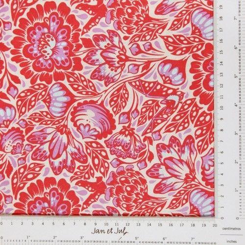 Tela de algodón en rojo coral y blanco de la colección Elizabeth y diseñada por Tula Pink