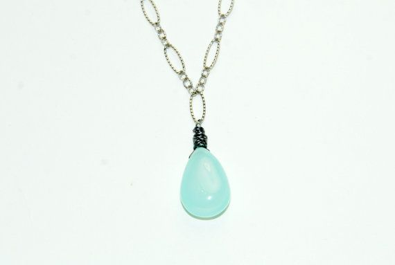 Aqua Chalcedony Necklace with dark chain by ELEVEN13, $36.00