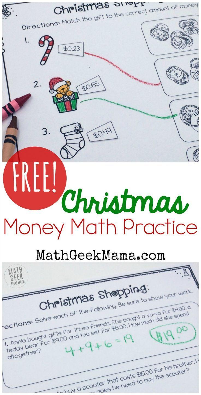 Christmas Shopping: Money Math Worksheets {FREE} | Math skills, Word ...