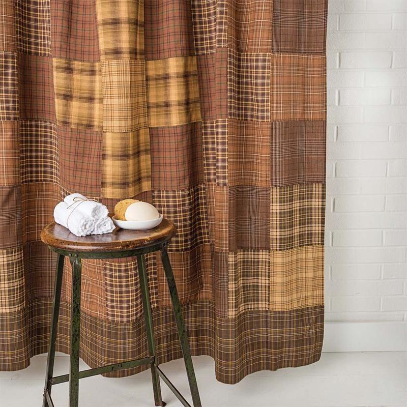 Arlington Tan Shower Curtain Patchwork Star Border