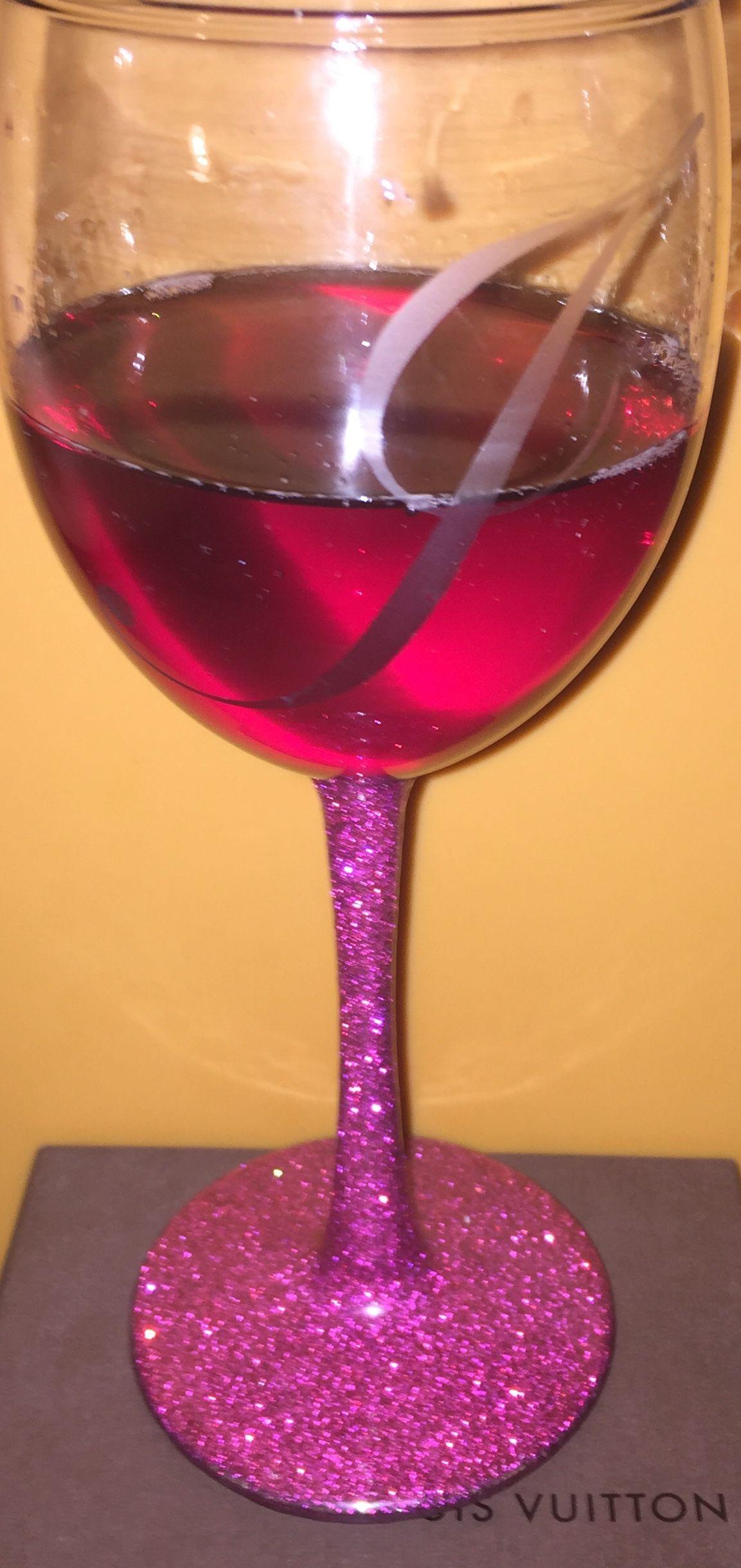 Glittered Wine Glass Glitter Wine Glass Wine Glass Glitter Wine