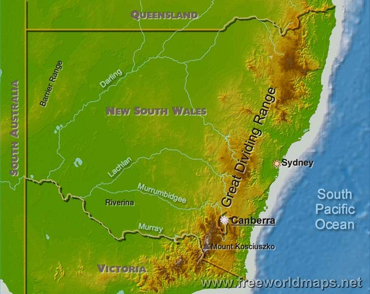 This map shows the mountain ranges in the Murray-Darling … | GROUP Kosciuszko Mountain In Oceania Map on mckinley mountain, elbrus mountain, shishapangma mountain, everest mountain, hamilton mountain, aconcagua mountain,