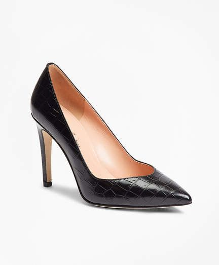 c75df293d7 Brooks Brothers Crocodile-Embossed Leather Point-Toe Pumps | MISC ...
