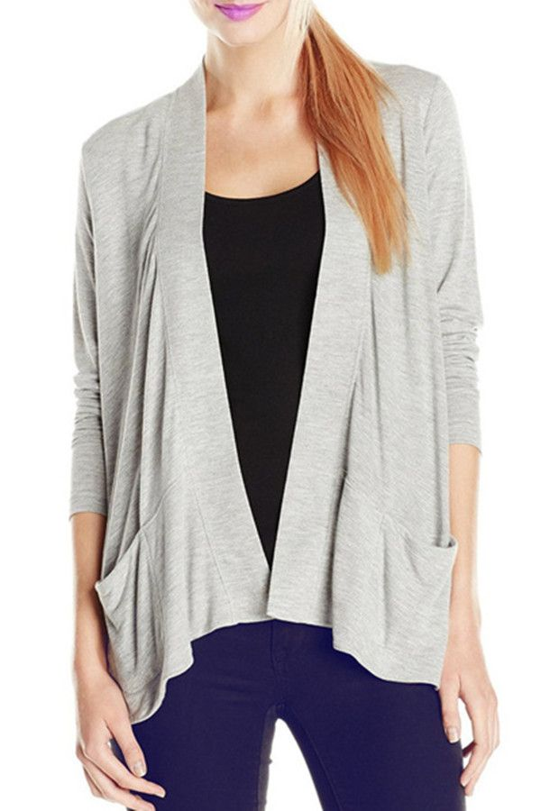 Simple Style Collarless Solid Color Long Sleeve Thin Cardigan For ...