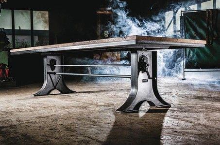 h henverstellbarer industrial design esstisch mighty. Black Bedroom Furniture Sets. Home Design Ideas