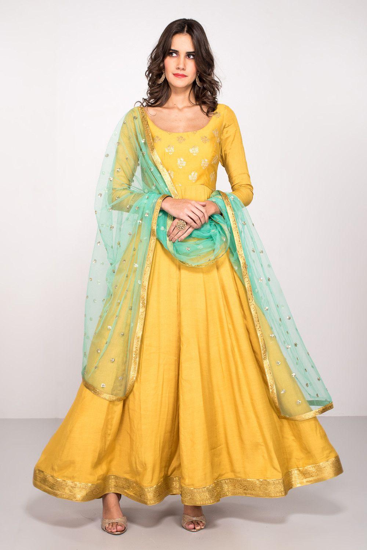 ce494e82343 Rent MALVIKA TALWAR - Yellow Embroidered Anarkali With Mint Green Dupatta