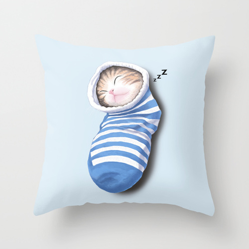 Cat in the Sock Throw Pillow by Tummeow #kitty  cute  bed