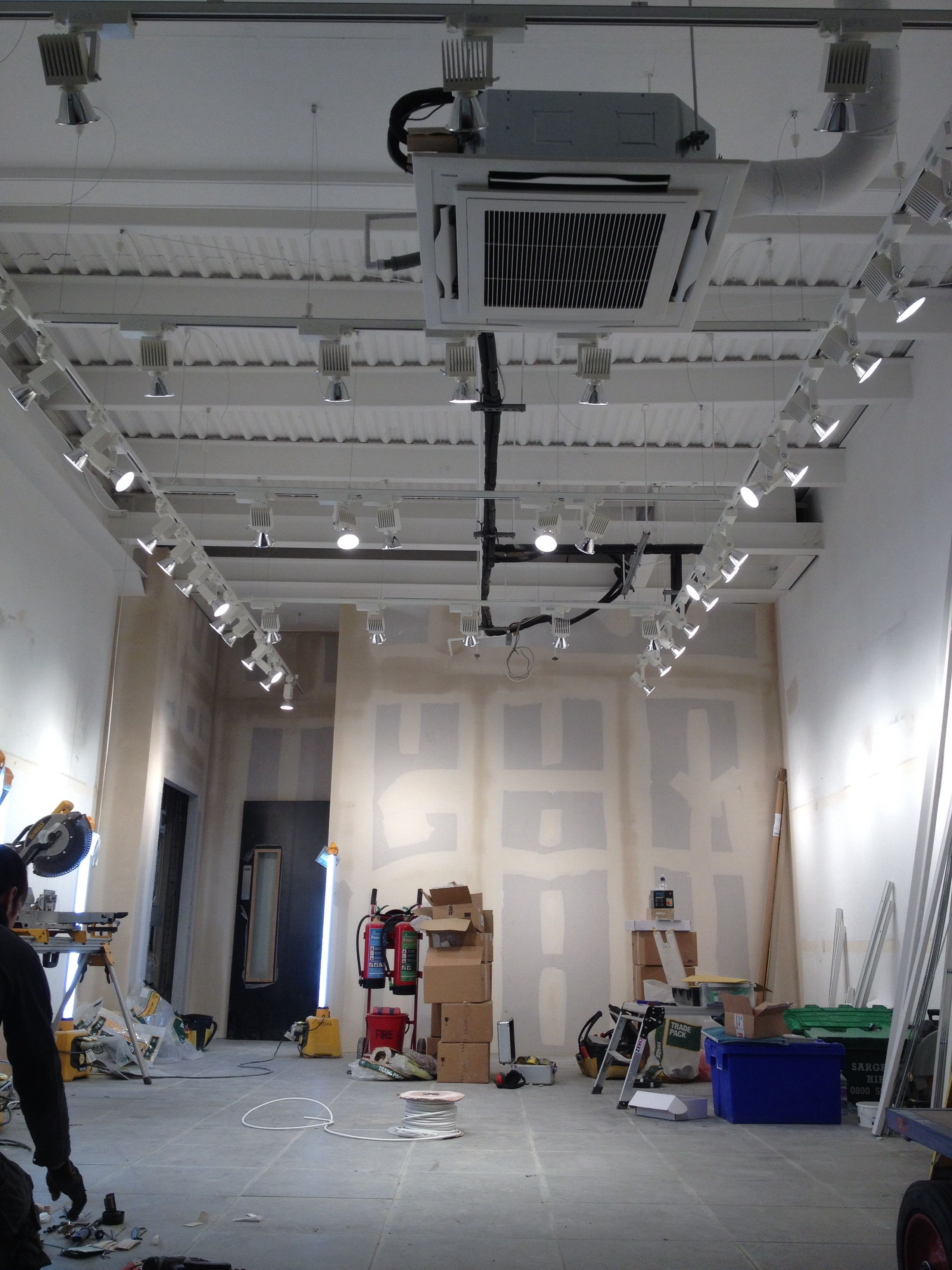 Track Lighting Suspended From 4 Metre High Ceilings