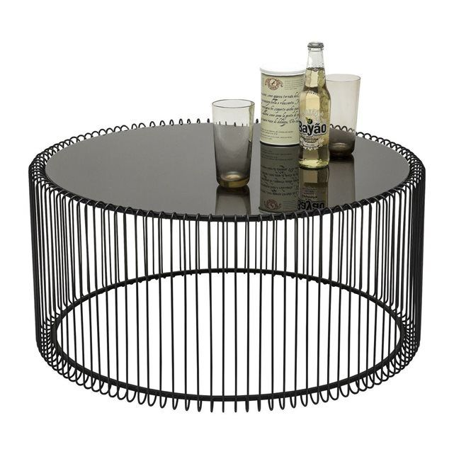 Table basse wire wire center tables basses rondes wire noir set de 2 kare design tables small rh pinterest co uk greentooth Gallery