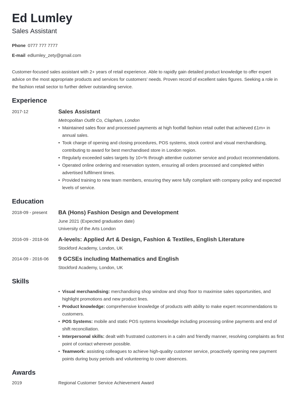 uk retail cv example template minimo in 2020 Cv examples