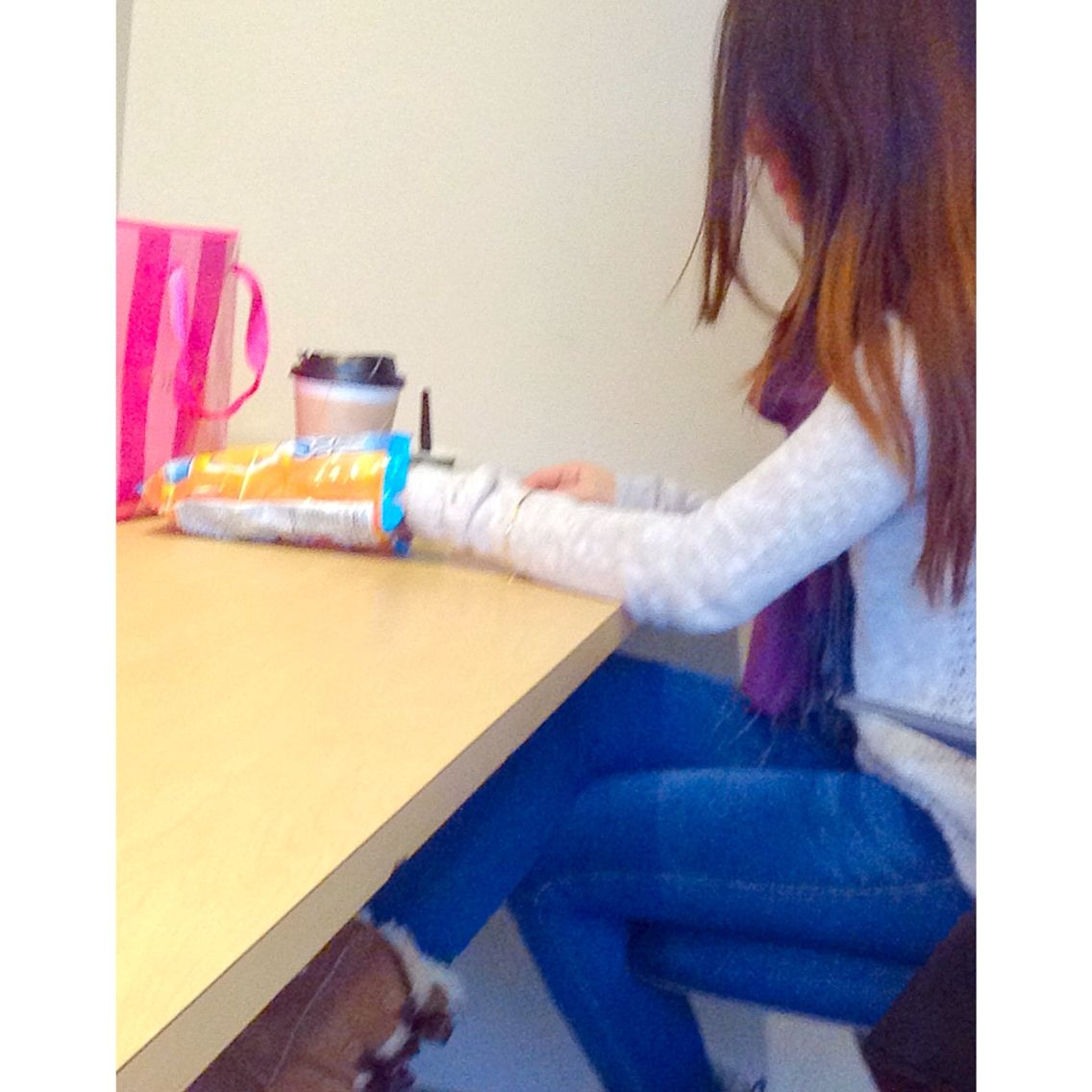 At school eating my #questproteinchips