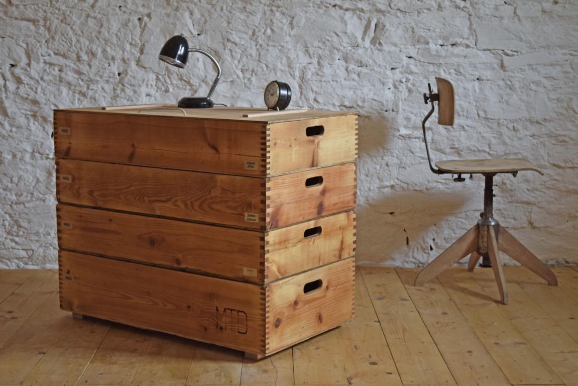 Sideboard Vintage Fabrik Loft Antik Stapelkisten Gross Holz Alt Kiste