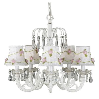 Jubilee Collection Net Flower 5 Light Shaded Chandelier Finish: White, Shade: White with Pink Petal Flower