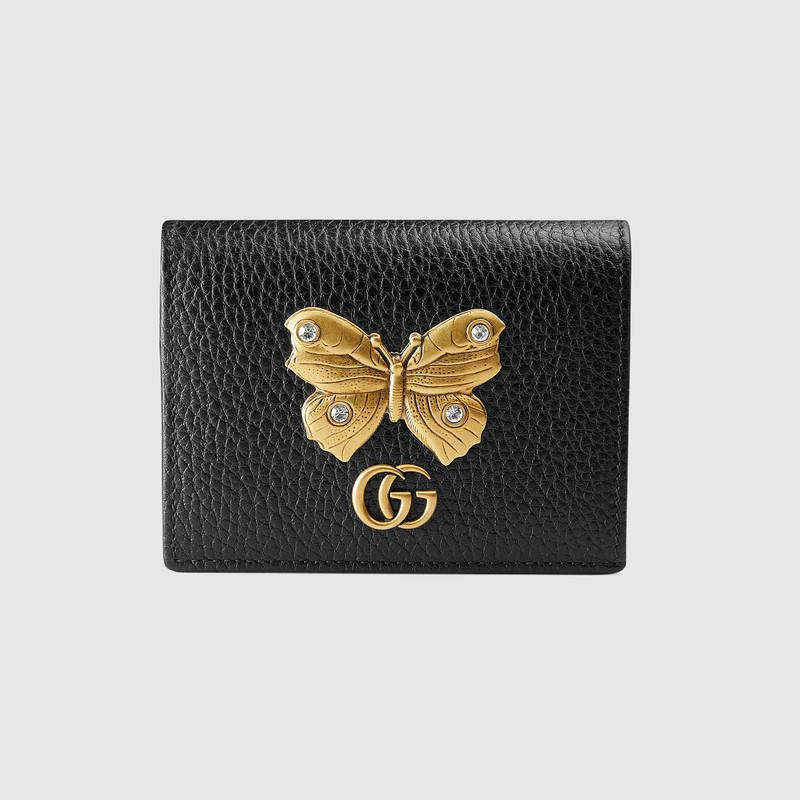 1248d364ea7212 Shop the Leather card case with butterfly by Gucci. A symbolic emblem from  the Gucci Garden, the butterfly has become synonymous with the House.