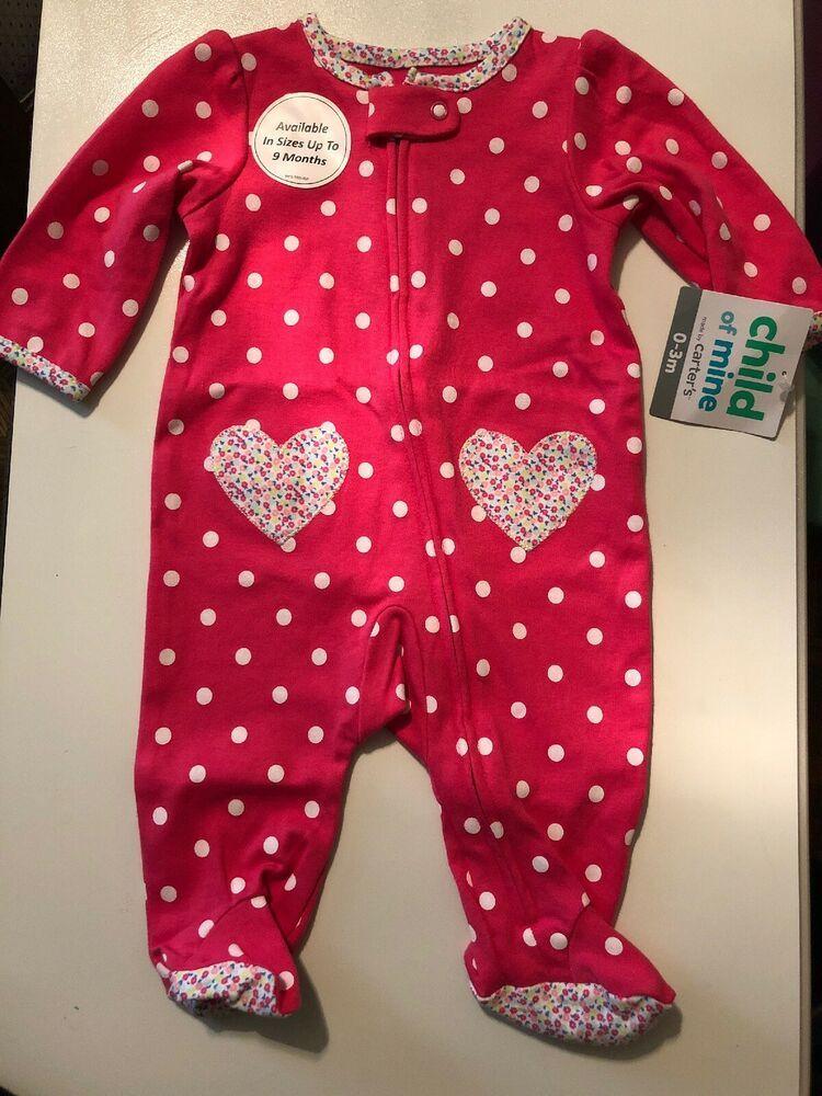 75c1b6ccb Carters Child Of Mine Pink Polka Dot Sleeper 0-3 Months #fashion #clothing