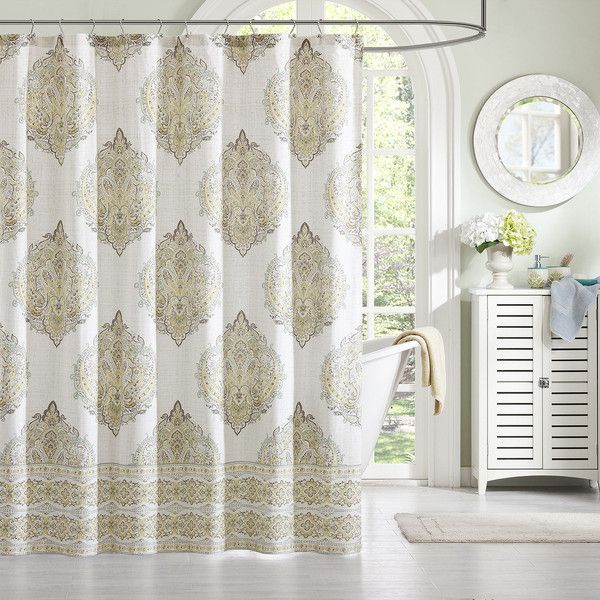 Saratoga Cotton Damask Shower Curtain ($50) ❤ liked on Polyvore featuring home, bed & bath, bath, shower curtains, cotton shower curtains, damask shower curtains, beige shower curtains and cotton shower liner