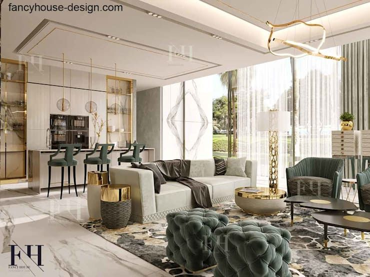 Modern interior design for a luxury house in Dubai by