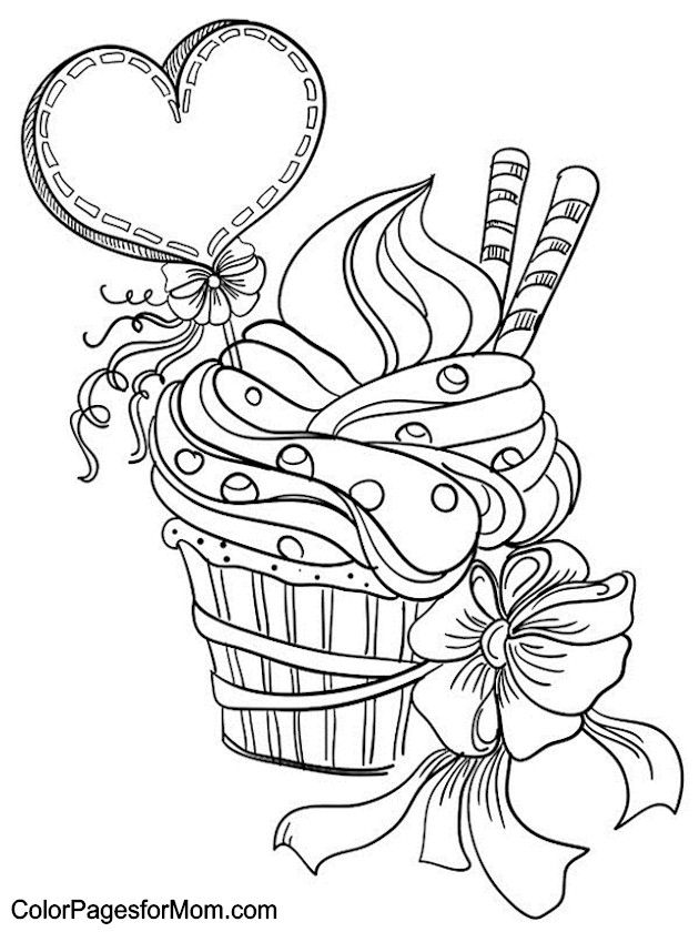 hearts coloring page 7 | coloring pages | pinterest - Coloring Pages Pretty Cupcakes
