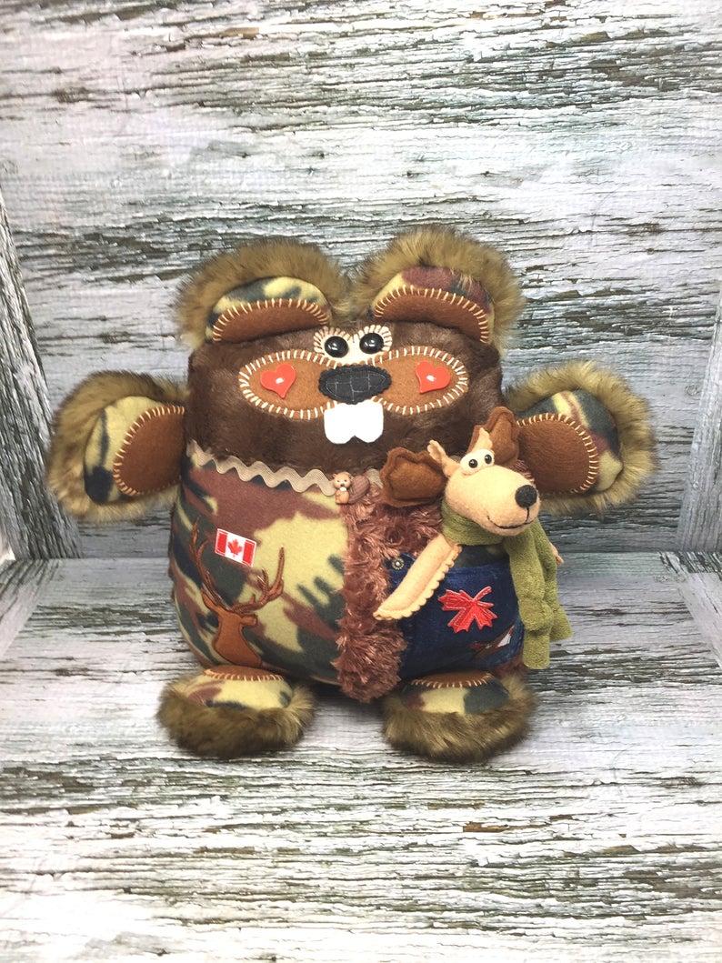 Canadian Beaver Stuffed Animal Canadian Souvenir Beaver Etsy Travel Keepsakes Animal Pillows Monkey Stuffed Animal [ 1059 x 794 Pixel ]
