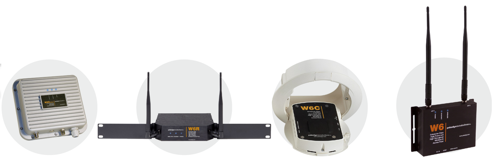 All form-factors of our W6 access points. From left to right: W6O outdoor, W6R rackmount, W6C ceiling, and W6 desktop.