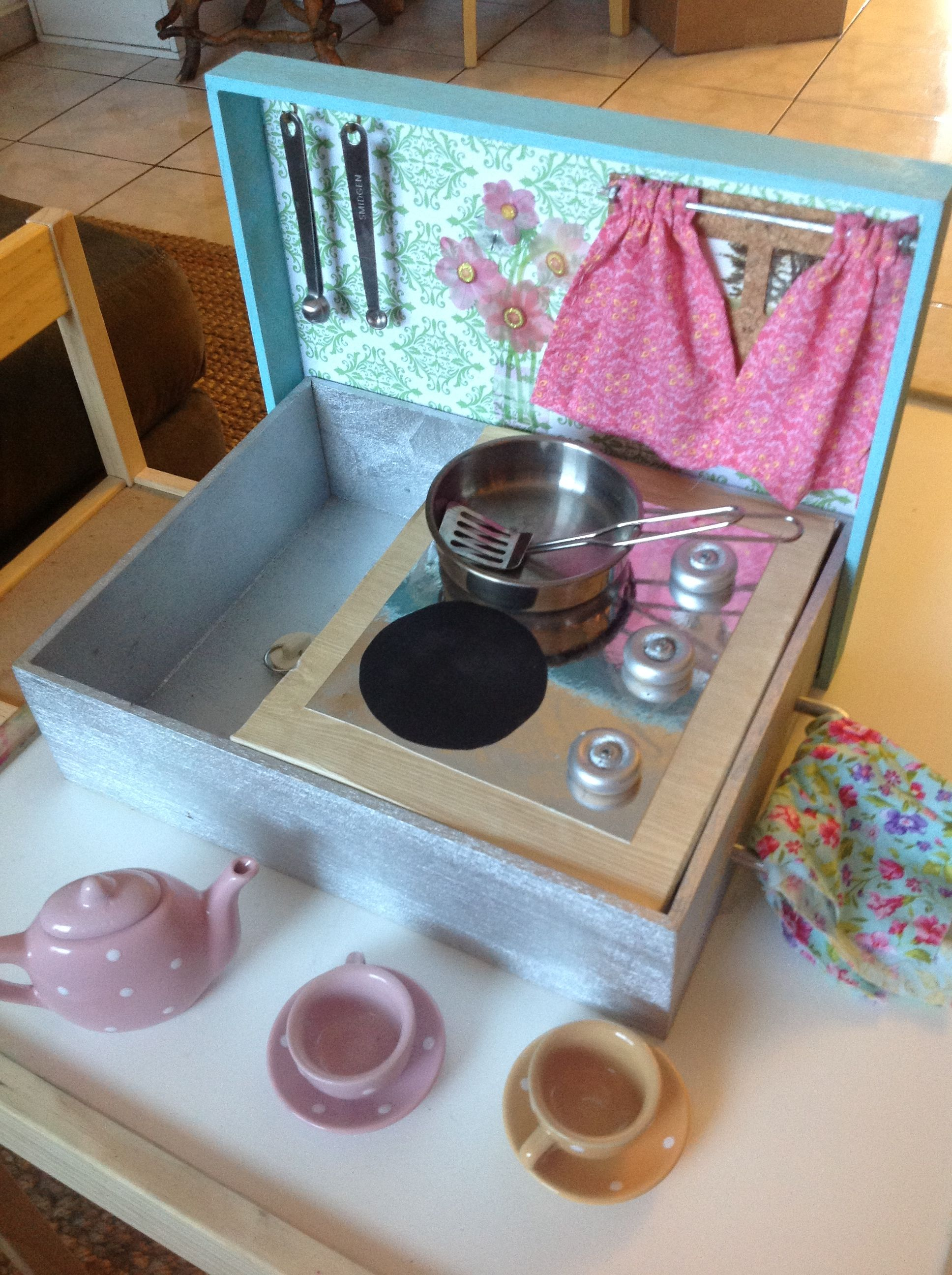 DIY tabletop travel kitchen toy from a Michael\'s wooden box ...
