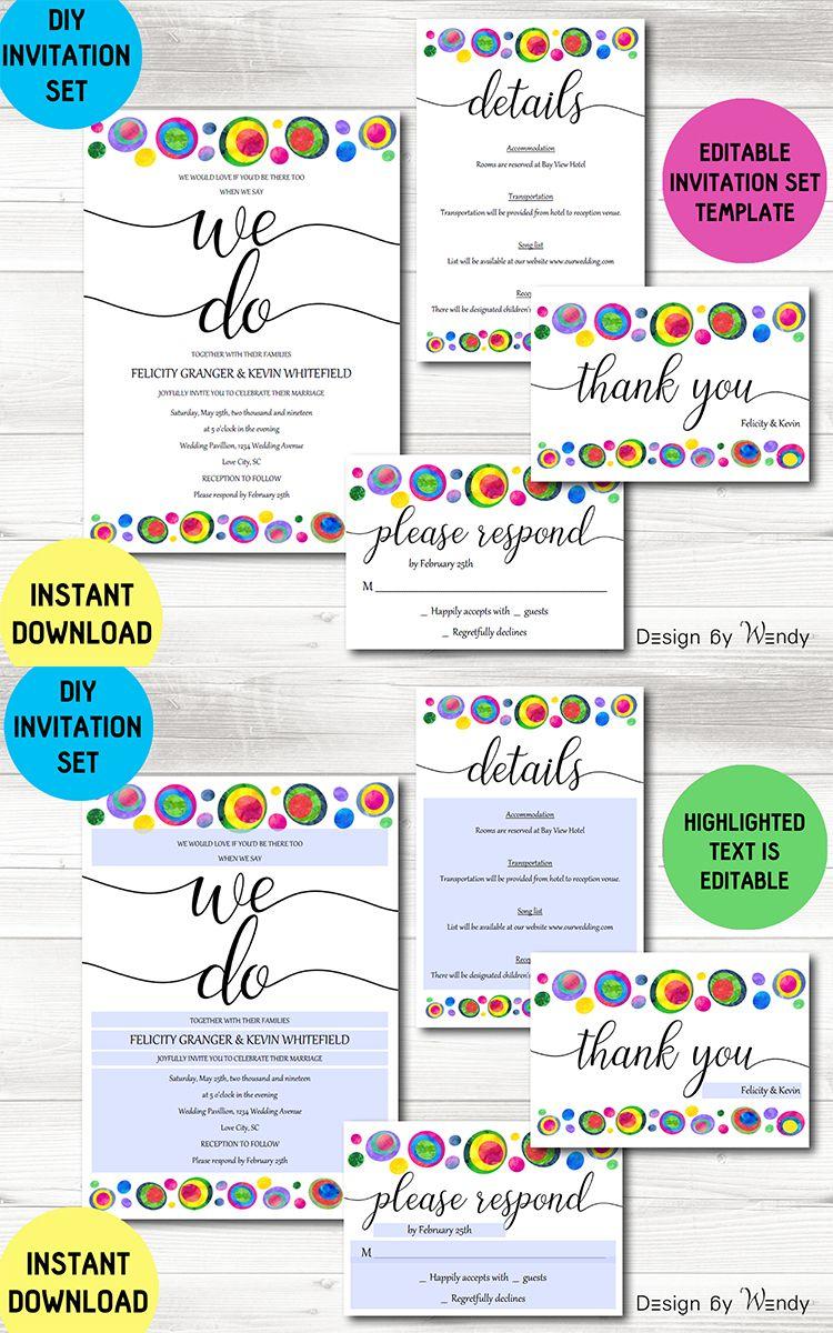 Wedding invitation template set, colorful wedding DIY invitation ...