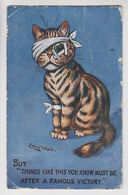 Artist Signed Louis Wain Cat Post Card The Busy Fluffikins Family