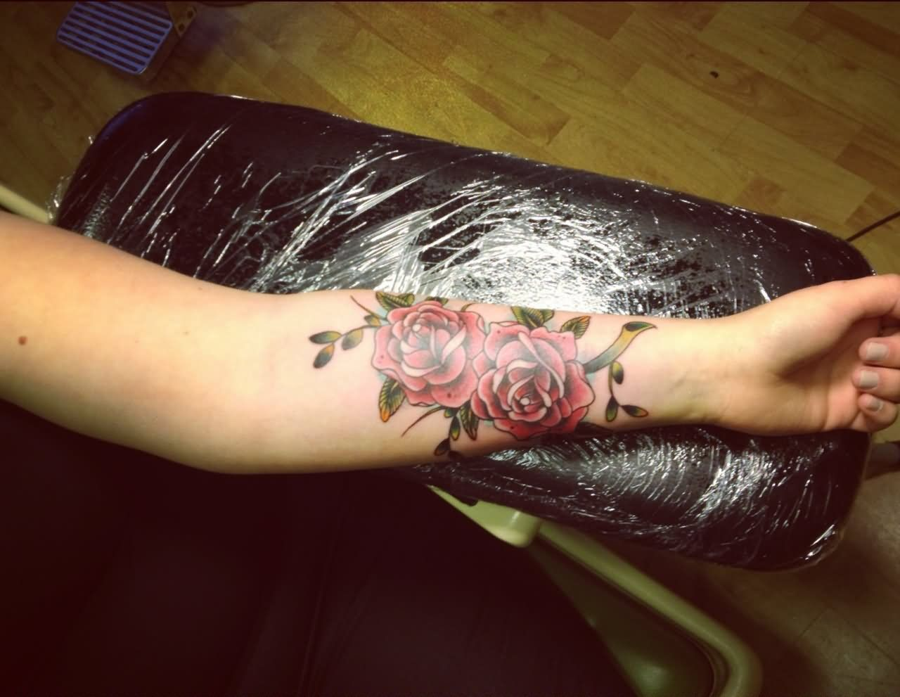 Two Red Roses Tattoo On Left Forearm By Aisha Forearm Tattoo