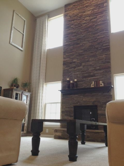 2 Story Stone Fireplace Dream House Decor Indoor Stone Wall