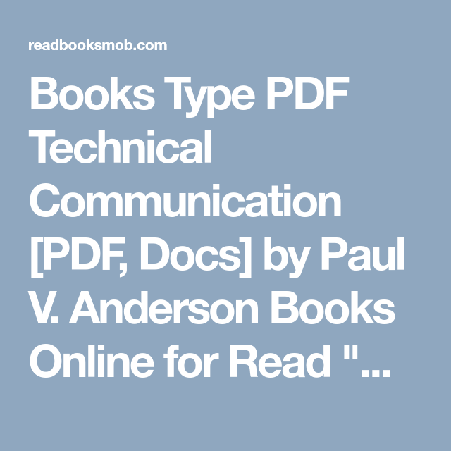 Technical Communication Paul Anderson Pdf