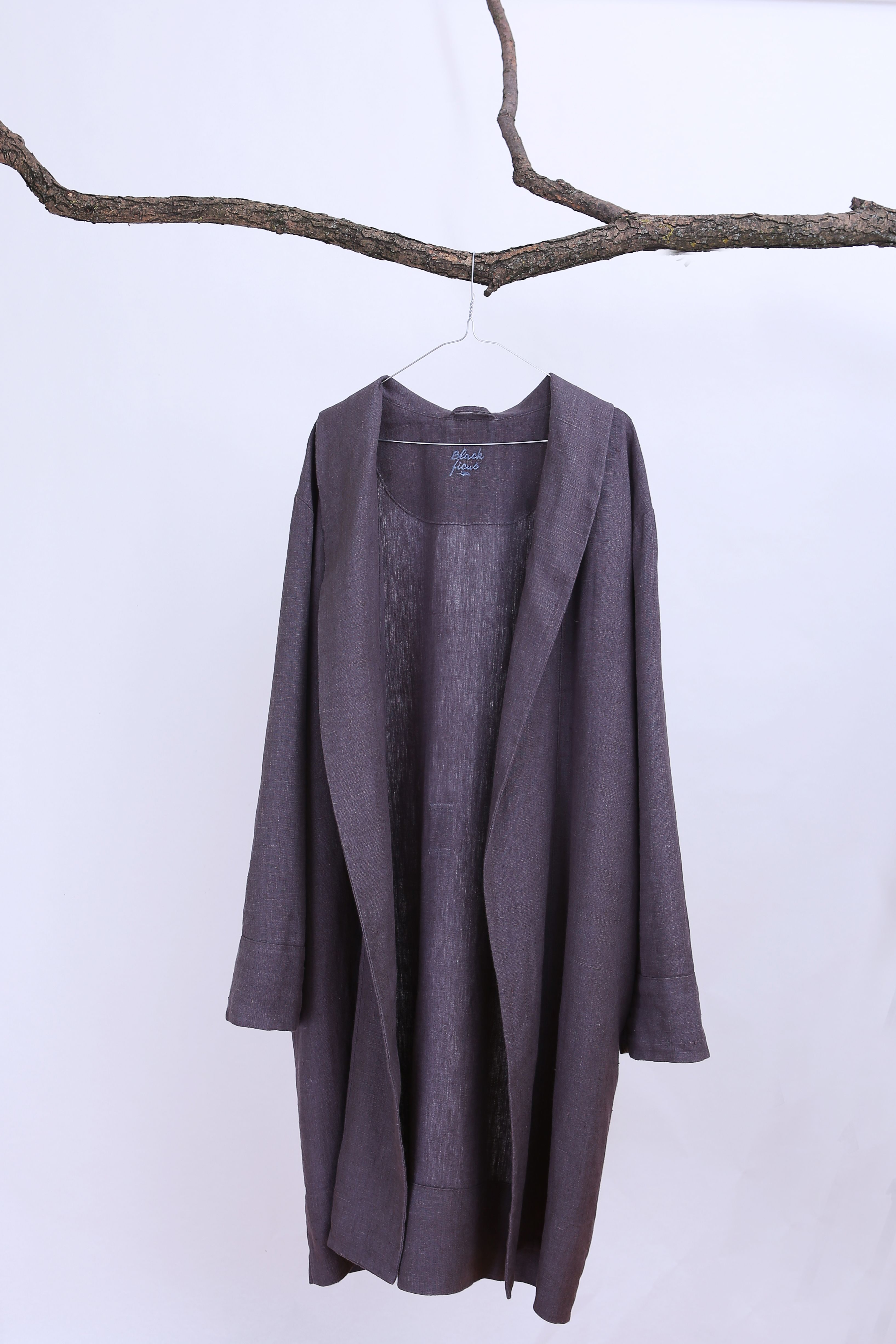 44a32c21087 Grey dressing gown for Men. Natural bathrobe. Linen clothes for man.  Homewear for man. Present for man. House coat. Personalized robe
